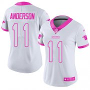 Wholesale Cheap Nike Panthers #11 Robby Anderson White/Pink Women's Stitched NFL Limited Rush Fashion Jersey