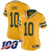 Wholesale Cheap Nike Packers #10 Jordan Love Yellow Women's Stitched NFL Limited Rush 100th Season Jersey