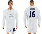 Wholesale Cheap Real Madrid #16 Kovacic Marine Environmental Protection Home Long Sleeves Soccer Club Jersey