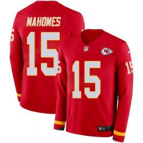 Wholesale Cheap Nike Chiefs #15 Patrick Mahomes Red Team Color Youth Stitched NFL Limited Therma Long Sleeve Jersey