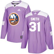 Wholesale Cheap Adidas Islanders #31 Billy Smith Purple Authentic Fights Cancer Stitched NHL Jersey