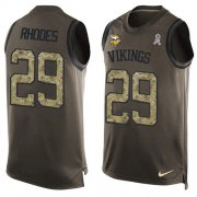 Wholesale Cheap Nike Vikings #29 Xavier Rhodes Green Men's Stitched NFL Limited Salute To Service Tank Top Jersey