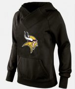 Wholesale Cheap Women's Minnesota Vikings Logo Pullover Hoodie Black-1