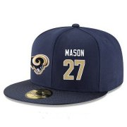 Wholesale Cheap Los Angeles Rams #27 Tre Mason Snapback Cap NFL Player Navy Blue with Gold Number Stitched Hat