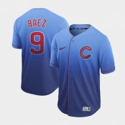 Wholesale Cheap Nike Cubs #9 Javier Baez Royal Fade Authentic Stitched MLB Jersey