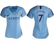 Wholesale Cheap Women's Manchester City #7 Sterling Home Soccer Club Jersey