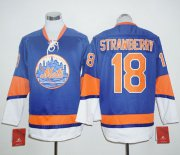 Wholesale Cheap Mets #18 Darryl Strawberry Blue Long Sleeve Stitched MLB Jersey