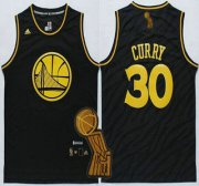 Wholesale Cheap Golden State Warriors #30 Stephen Curry Revolution 30 Swingman 2014 Black With Gold Jersey