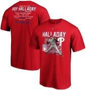 Wholesale Cheap Philadelphia Phillies #34 Roy Halladay 2019 Hall of Fame Stats T-Shirt Red
