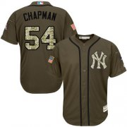 Wholesale Cheap Yankees #54 Aroldis Chapman Green Salute to Service Stitched MLB Jersey