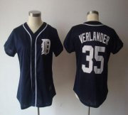 Wholesale Tigers #35 Justin Verlander Navy Blue Women's Fashion Stitched Baseball Jersey