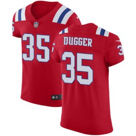 Wholesale Cheap Nike Patriots #35 Kyle Dugger Red Alternate Men\'s Stitched NFL New Elite Jersey
