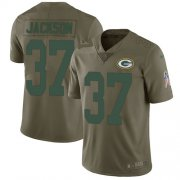 Wholesale Cheap Nike Packers #37 Josh Jackson Olive Men's Stitched NFL Limited 2017 Salute To Service Jersey