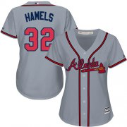 Wholesale Cheap Braves #32 Cole Hamels Grey Road Women's Stitched MLB Jersey