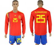 Wholesale Cheap Spain #25 Illarramendi Red Home Long Sleeves Soccer Country Jersey