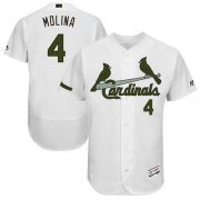 Wholesale Cheap Cardinals #4 Yadier Molina White Flexbase Authentic Collection Memorial Day Stitched MLB Jersey