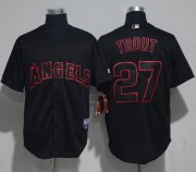 Wholesale Cheap Angels of Anaheim #27 Mike Trout Black Strip Stitched MLB Jersey