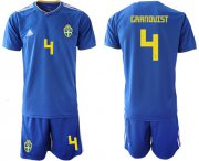Wholesale Cheap Sweden #4 Granqvist Away Soccer Country Jersey