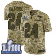 Wholesale Cheap Nike Patriots #24 Stephon Gilmore Camo Super Bowl LIII Bound Youth Stitched NFL Limited 2018 Salute to Service Jersey