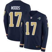Wholesale Cheap Nike Rams #17 Robert Woods Navy Blue Team Color Men's Stitched NFL Limited Therma Long Sleeve Jersey