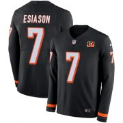 Wholesale Cheap Nike Bengals #7 Boomer Esiason Black Team Color Men's Stitched NFL Limited Therma Long Sleeve Jersey