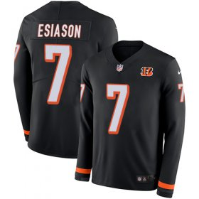 Wholesale Cheap Nike Bengals #7 Boomer Esiason Black Team Color Men\'s Stitched NFL Limited Therma Long Sleeve Jersey