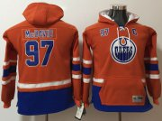 Wholesale Cheap Oilers #97 Connor McDavid Orange Youth Name & Number Pullover NHL Hoodie