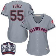 Wholesale Cheap Indians #55 Roberto Perez Grey 2016 World Series Bound Women's Road Stitched MLB Jersey