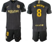 Wholesale Cheap Barcelona #8 A.Iniesta Black Soccer Club Jersey