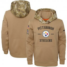 Wholesale Cheap Youth Pittsburgh Steelers Nike Khaki 2019 Salute to Service Therma Pullover Hoodie