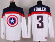 Wholesale Cheap Olympic Team USA #3 Cam Fowler White Captain America Fashion Stitched NHL Jersey