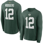 Wholesale Cheap Green Bay Packers #12 Aaron Rodgers Nike Player Name & Number Long Sleeve T-Shirt Green