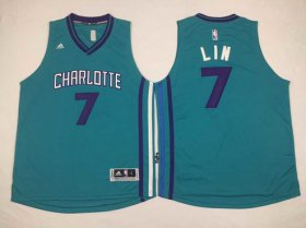 Wholesale Cheap Men\'s Charlotte Hornets #7 Jeremy Lin Revolution 30 Swingman 2015 New Teal Green Jersey