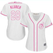 Wholesale Cheap Indians #28 Corey Kluber White/Pink Fashion Women's Stitched MLB Jersey