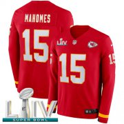 Wholesale Cheap Nike Chiefs #15 Patrick Mahomes Red Super Bowl LIV 2020 Team Color Youth Stitched NFL Limited Therma Long Sleeve Jersey