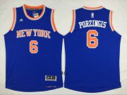 Wholesale Cheap Men's New York Knicks #6 Kristaps Porzingis Revolution 30 Swingman 2014 New Blue Jersey