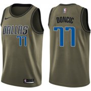 Wholesale Cheap Nike Dallas Mavericks #77 Luka Doncic Green NBA Swingman Salute to Service Jersey