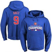 Wholesale Cheap Cubs #9 Javier Baez Blue 2016 World Series Champions Pullover MLB Hoodie