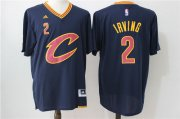 Wholesale Cheap Men's Cleveland Cavaliers #2 Kyrie Irving Revolution 30 Swingman 2016 New Navy Blue Short-Sleeved Jersey