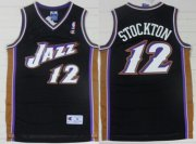 Wholesale Cheap Utah Jazz #12 John Stockton Black Swingman Throwback Jersey
