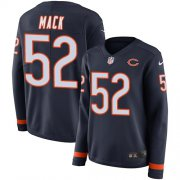 Wholesale Cheap Nike Bears #52 Khalil Mack Navy Blue Team Color Women's Stitched NFL Limited Therma Long Sleeve Jersey