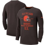 Wholesale Cheap Men's Cleveland Browns Nike Brown 2019 Salute to Service Sideline Performance Long Sleeve Shirt