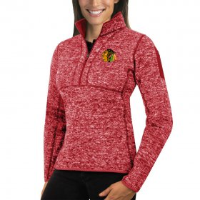Wholesale Cheap Chicago Redhawks Antigua Women\'s Fortune 1/2-Zip Pullover Sweater Red