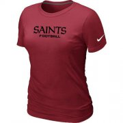 Wholesale Cheap Women's Nike New Orleans Saints Sideline Legend Authentic Font T-Shirt Red