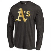 Wholesale Cheap Oakland Athletics Gold Collection Long Sleeve Tri-Blend T-Shirt Black