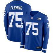 Wholesale Cheap Nike Giants #75 Cameron Fleming Royal Blue Team Color Men's Stitched NFL Limited Therma Long Sleeve Jersey