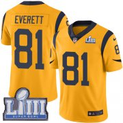 Wholesale Cheap Nike Rams #81 Gerald Everett Gold Super Bowl LIII Bound Youth Stitched NFL Limited Rush Jersey