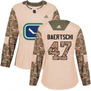 Wholesale Cheap Adidas Canucks #47 Sven Baertschi Camo Authentic 2017 Veterans Day Women's Stitched NHL Jersey