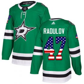 Wholesale Cheap Adidas Stars #47 Alexander Radulov Green Home Authentic USA Flag Youth Stitched NHL Jersey
