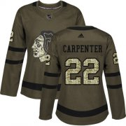 Wholesale Cheap Adidas Blackhawks #22 Ryan Carpenter Green Salute to Service Women's Stitched NHL Jersey